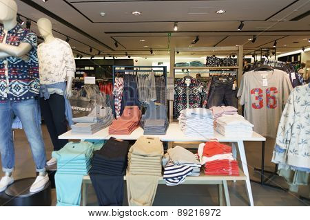 HONG KONG - APRIL 03, 2015: New Town Plaza boutique interior. New Town Plaza is a shopping mall in the town centre of Sha Tin in Hong Kong. Developed by Sun Hung Kai Properties.