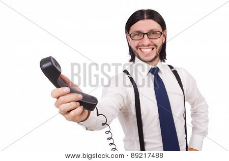 Businessman is speaking on the phone isolated on white