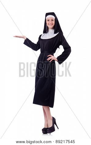 Cheerful posing nun holding isolated on white