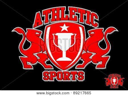3D Athletic Sports Red Emblem On Black Background