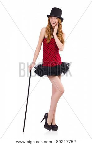 Girl in red polka-dot dress isolated on white