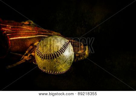 Baseball And Glove Rustic