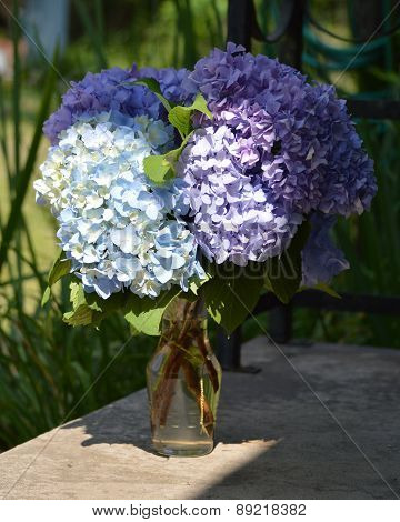 Bouquet Of Purple Hydrangeas On Porch