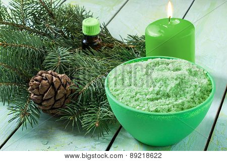 Coniferous Spa And Wellness Setting