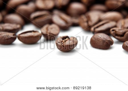 Closeup Coffee Bean Isolated On White