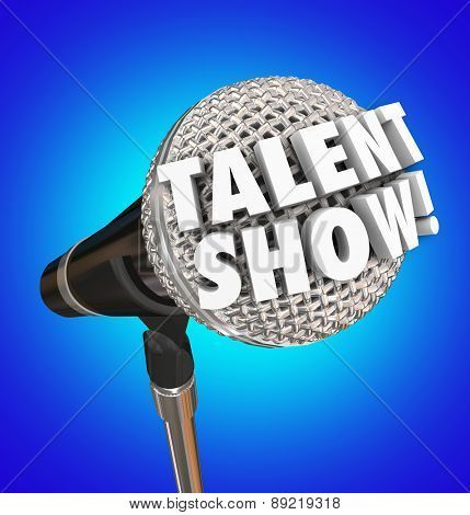 Talent Show words in 3d letters on a microphone to illustrate or advertise a singing competition or event for performance