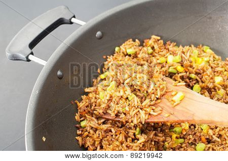 Chinese Fried Rice In A Wok Closeup Studio Shot