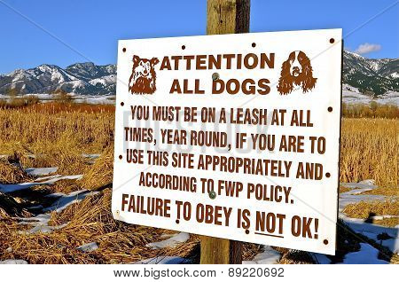 Sign for literate dogs