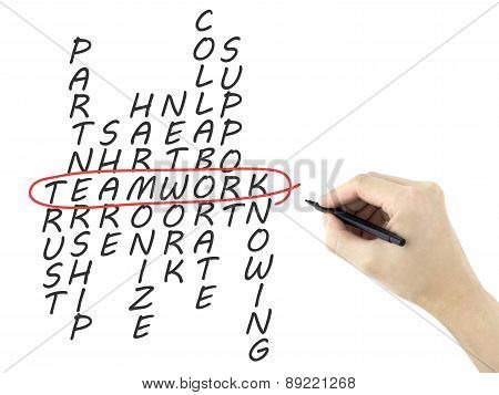 Teamwork Concept Crossword Written By Man's Hand