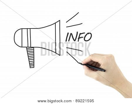 Megaphone Info Concept Drawn By Man's Hand
