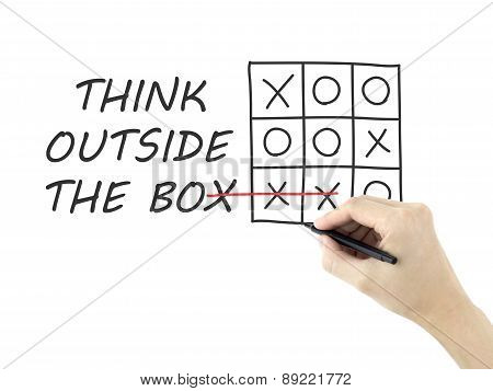 Think Outside The Box Drawn By Man's Hand