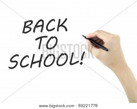 Back To School Words Written By Man's Hand