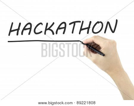 Hackathon Word Written By Man's Hand