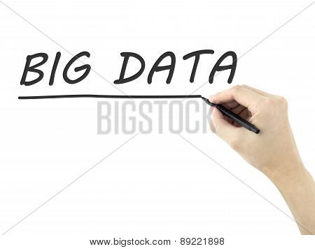 Big Data Words Written By Man's Hand