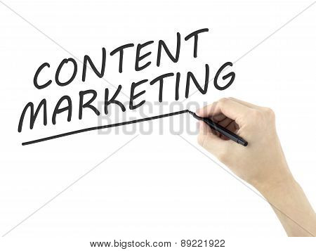 Content Marketing Words Written By Man's Hand