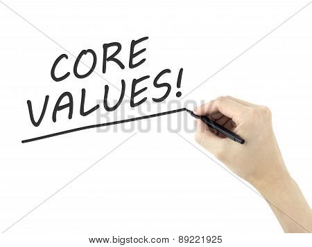 Core Values Words Written By Man's Hand