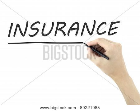 Insurance Word Written By Man's Hand