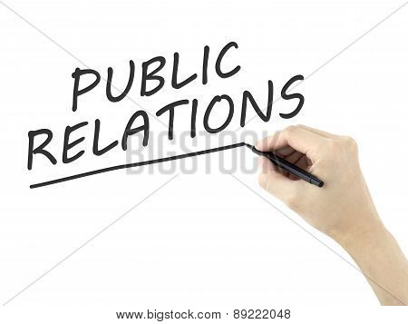 Public Relations Words Written By Man's Hand