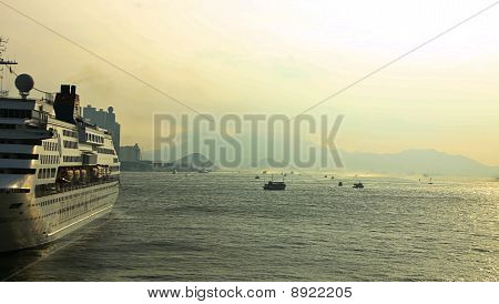 Sea View With Ferry Ship