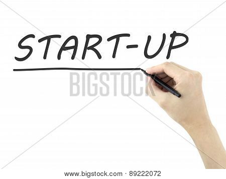 Start-up Word Written By Man's Hand