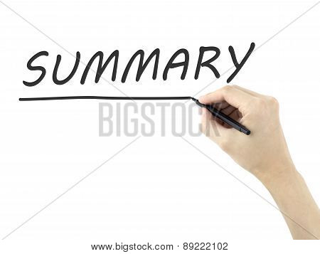 Summary Word Written By Man's Hand