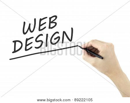 Web Design Words Written By Man's Hand