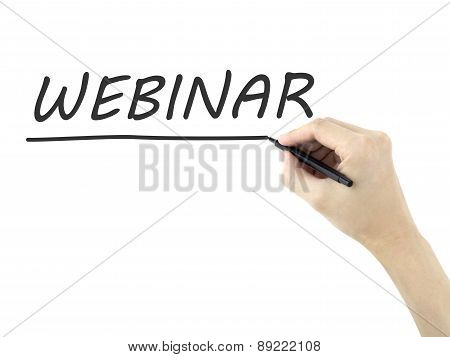 Webinar Word Written By Man's Hand