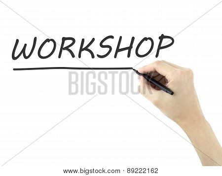 Workshop Word Written By Man's Hand