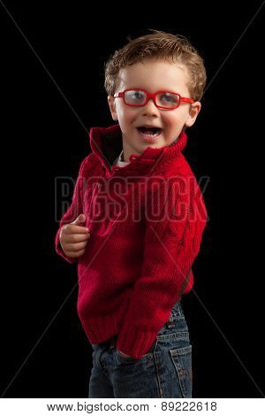 Young Blonde Boy In Red Glasses