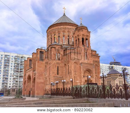 Cathedral Armenian Church Surb Khach (holy Cross) In Moscow, Russia.