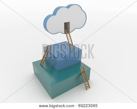 Cloud And Cubes With Ladders, Cloud Computing 3D Concept