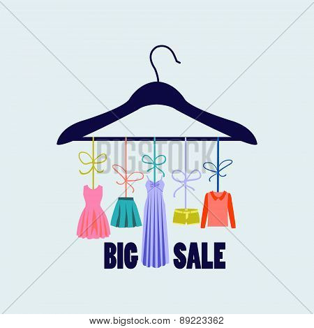 Hanger With Clothing - Illustration