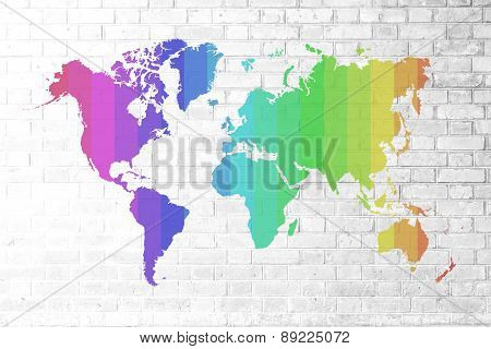 Red Brick Wall Texture Soft Tone Colorful World Map