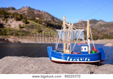 Blue Fishing Boat Souvenir