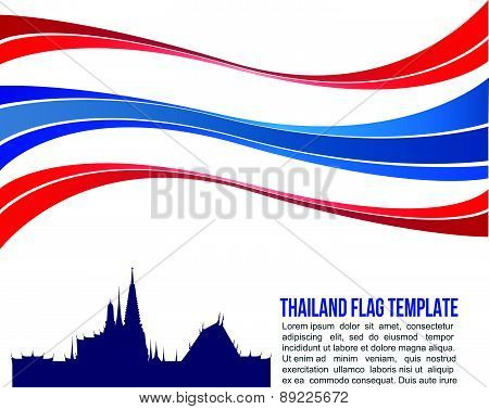 Thai flag wave and wat-pha-keaw Temple