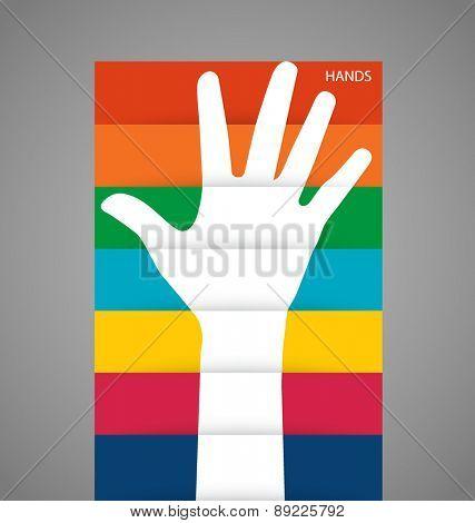 Photo of raised hand. Vector illustration.
