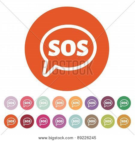 The Sos Icon. Help Symbol. Flat