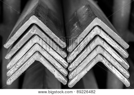 Stacked Of Steel Angled Bar.