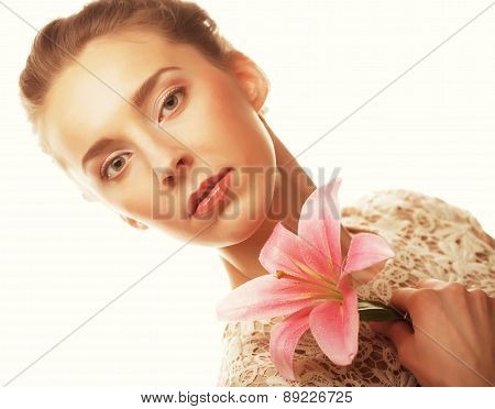 girl holding lily flower in her hands