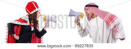 Arab man and queen are shouting through loudspeakers isolated on white