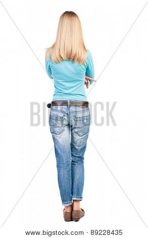 back view of standing young beautiful  blonde woman in brown.  girl  watching. Rear view people collection.  backside view of person.  Isolated over white background.