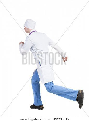 Back view of running doctor in a robe hurrying to help the patient. Walking guy in motion.  Backside view of person. Isolated over white background. The nurse rushes for surgery