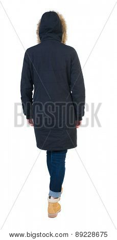 Back view of going  woman in parka. walking young girl. Rear view people collection.  backside view of person.  Isolated over white background.