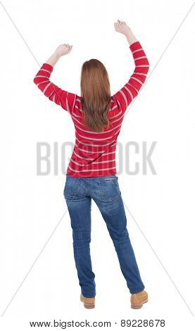 back view of dancing young beautiful  woman. girl  watching. Rear view people collection.  backside view of person.  Isolated over white background.