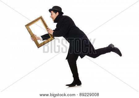 Young man holding frame isolated on white