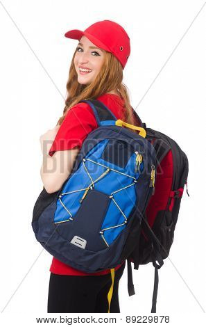 Pretty girl with backpack isolated on white