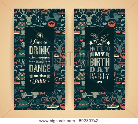 Happy Birthday Invitation, Vintage Retro Background With Hipster Seamless Pattern.