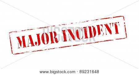 Rubber stamp with text major incident inside vector illustration