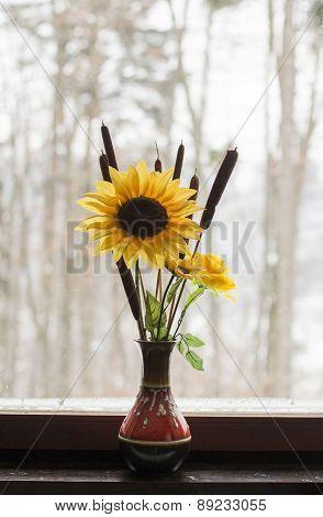 Sunflower on the window