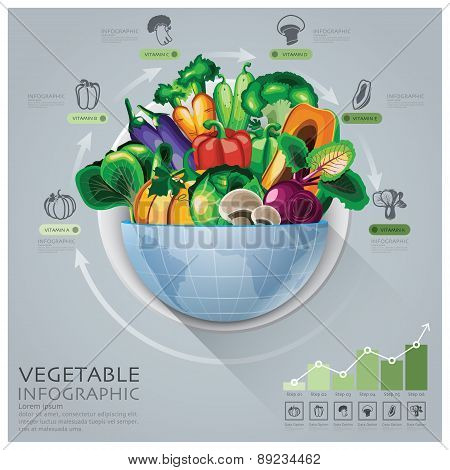 Global Medical And Health Infographic With Round Circle Vegetable Vitamin Diagram